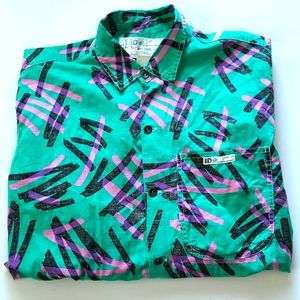 Mens vintage button down 80s 90s saved by the bell